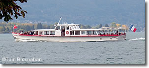 Cruise boat on Lac d'Annecy, France