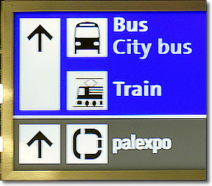 Bus & Train station sign