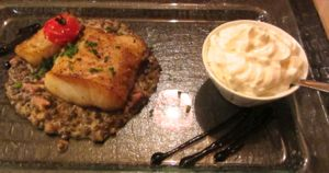 Cod with bacon whipped cream, Beaune