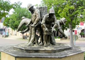 Statue of grape pickers, Puligny-Montrachet, France