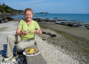 Enjoying fresh oysters, Cancale, Brittany, France