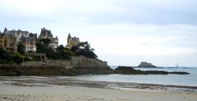 View of seaside houses, Dinard, Brittany, France