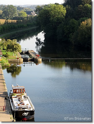 Canal barge moored at Josselin, Bretagne, France