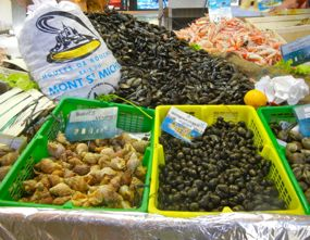 Seafood in market, Rennes, Brittany, France