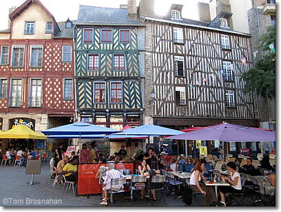 Restaurants on the place Sainte-Anne, Rennes, France