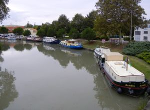 Boats in Castelnaudary, Canal du Midi, France