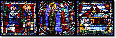 Nativity scenes in stained glass windows, Chartres Cathedral, France