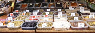 Olives in Sarlat Market, France