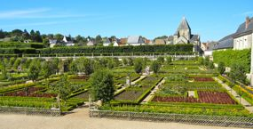 Gardens of Villandry and Church of St-Etienne, France