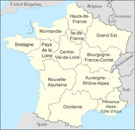 La France Map.Regions Departements Of France