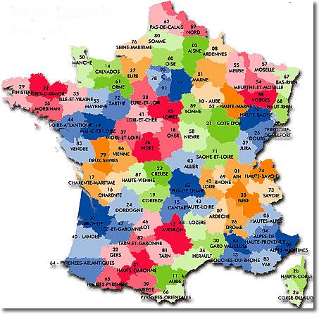 Départements de France • Voyages - Cartes