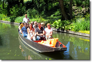 Cruising Les Hortillonages floating gardens in Amiens, France