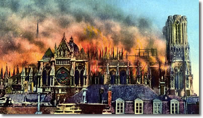 Reims Cathedral Burning, WWI, France