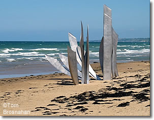 Memorial Sculpture on Omaha Beach, Normandy, France