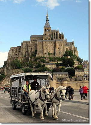 Maringote horse-drawn wagon, Mont St-Michel, Normandy, France
