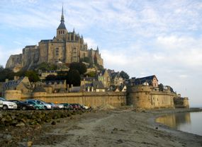 Cars at Mont St-Michel, Normandy, France