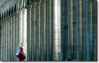 Colonnade in the Abbey of Mont St-Michel, Normandy, France