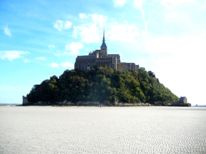 Surrounded by a sea of sand at Mont-St-Michel, France