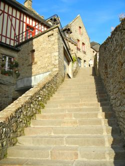 Steep steps at Mont-St-Michel, Normandy, France