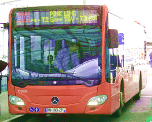 Pink Line hotel bus, CDG Airport, Paris