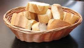 Basket of fresh French bread