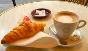 Café au lait and a croissant, Paris