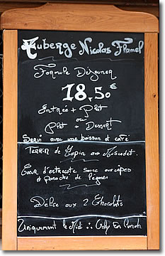Auberge Nicolas Flamel Menu, Paris, France