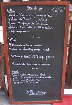 Typical menuboard, Paris