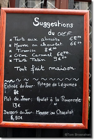 Restaurant Ardoise (blackboard), Paris, France