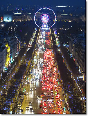 Avenue des Champs-Élysées & Roue de Paris at Christmastime, Paris, France