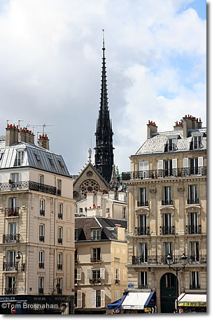 Cityscape with steeple, Paris, France