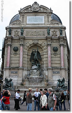 Fountain in Place St-Michel, Paris, France
