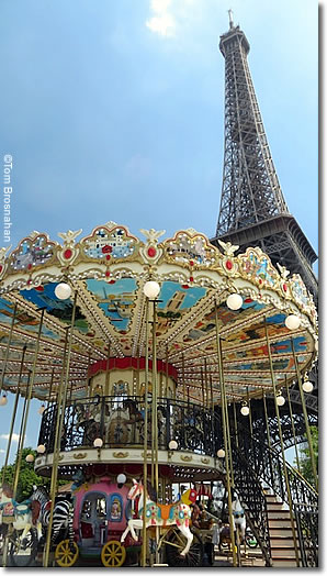 Carousel next to Eiffel Tower, Paris, France