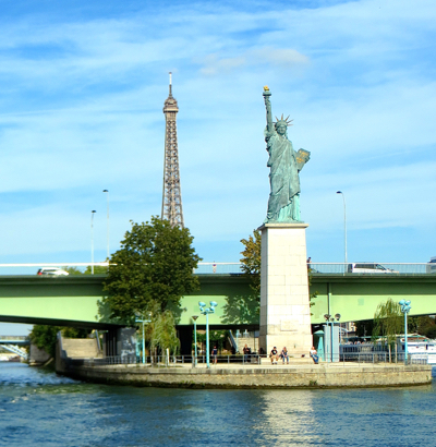Statue of liberty and Eiffel Tower, Paris