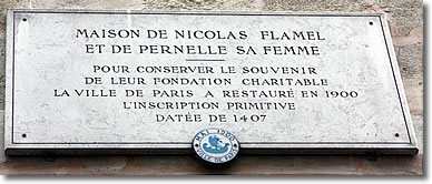 Plaque on Maison Nicolas Flamel, Paris, France