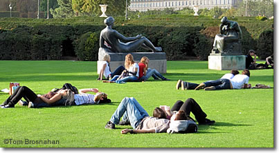 Lawn loungers at Musée du Louvre, Paris, France