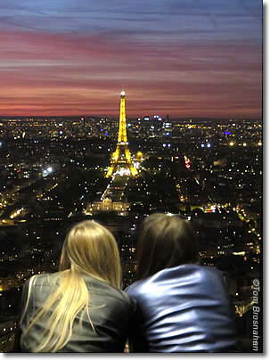 View of the Eiffel Tower from Tour Montparnasse, Paris, France