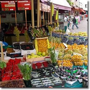 Market streets in Paris France