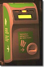 Bus ticket validator, Paris, France