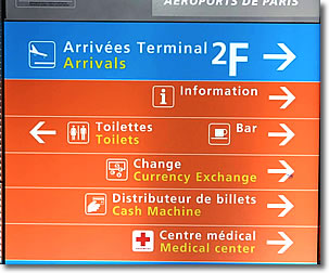 Sign at CDG Airport, Paris, France