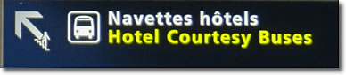 Hotel Courtesy Buses sign, Charles de Gaulle Airport, Paris, France
