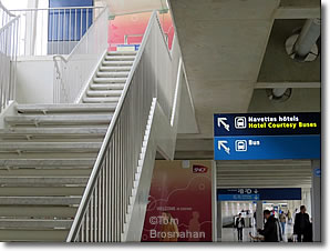 Stairs to Hotel Courtesy Buses, Charles de Gaulle Airport, Paris, France