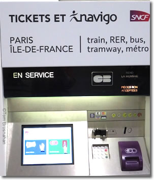SNCF Paris & Île-de-France train ticket machine