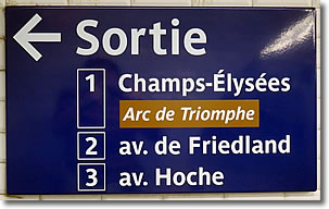 Exit (Sortie) sign in Paris Métro, France