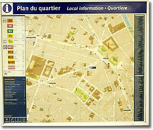 Plan du Quartier, Métro, Paris, France