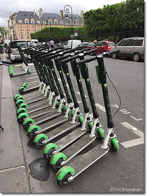 Electric scooters in Paris, France