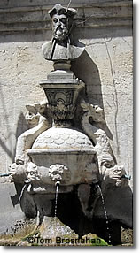 Fontaine Ancienne & Bust of Nostradamus, St-Rémy-de-Provence, France