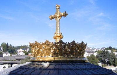 Crown on the basilica, Lourdes, France