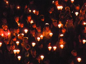 Pilgrims with torches, Lourdes, France