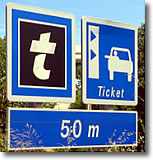 Ticket sign on autoroute in France